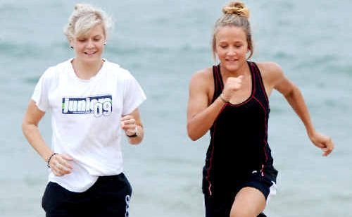 Kirsty Stancombe and Maegan Cass train at Mackay Harbour ahead of their appearance for Queensland Country this weekend.