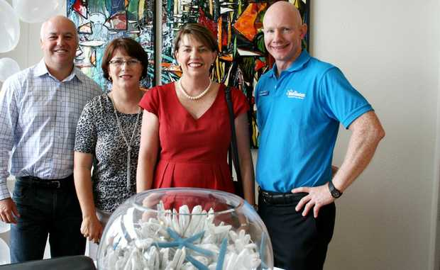 Tourism Queensland executive director Steve McRoberts; member for Whitsunday Jan Jarratt; Premier Anna Bligh; and Tourism Whitsundays CEO Peter O'Reilly at the launch of the new tourism brand at Peppers Coral Coast Resort yeserday morning.