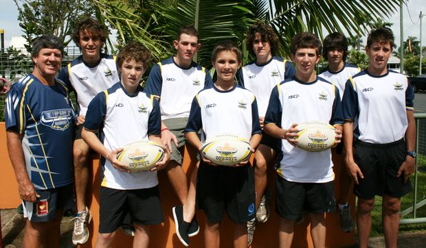 National rugby league development officer Brad Henry with Kieran Anderson, Dylan Odriscoll, Alex Richards, Corey Rees, Harry Wecker, Adam Bugeja, Ben Fenech-Brebner and Luke Henry who have all been selected in the North Queensland Cowboys Top Gun Academy squads.