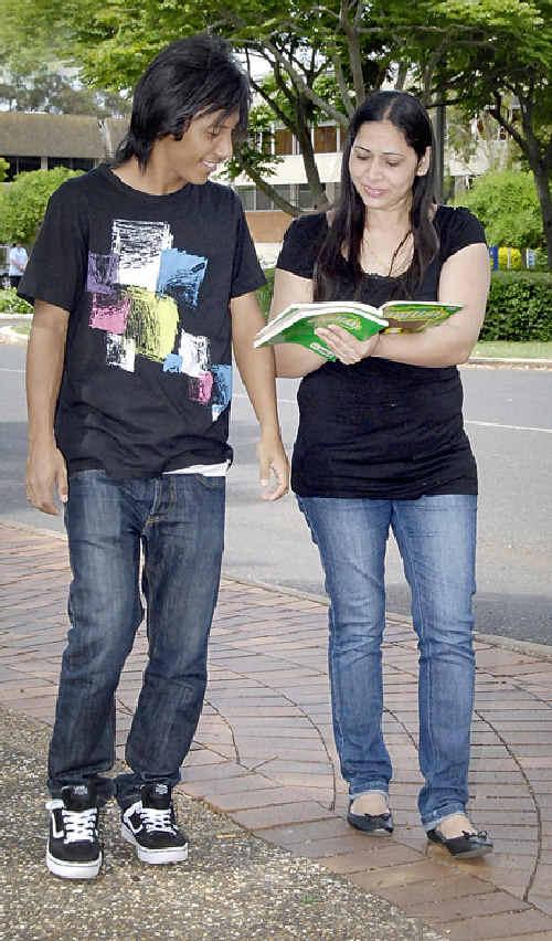 International students Kirtan Pakhrinlama (left) and Rajpal Minhas are studying at USQ.