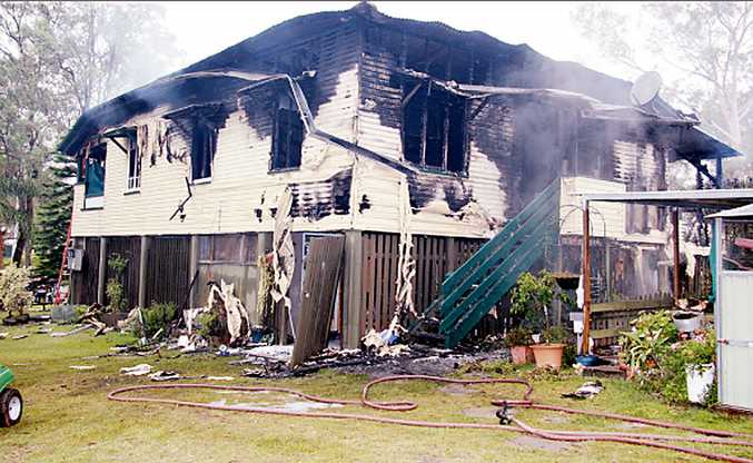 This house in the Lockyer Valley was destroyed by fire yesterday morning.