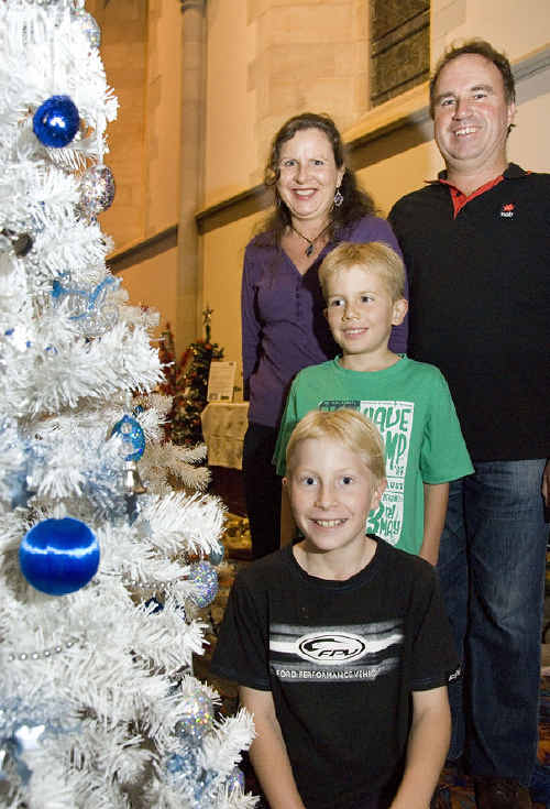At the launch of the Christmas Tree Festival are (from front to back) Matthew, Izak and Kathy Shepherd with Tony Kajewski.