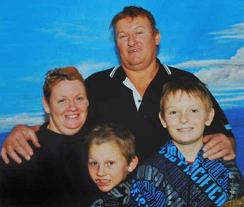 A family photo in New Zealand showing Kim, Willie, Benjamin and Jonathan Joynson.