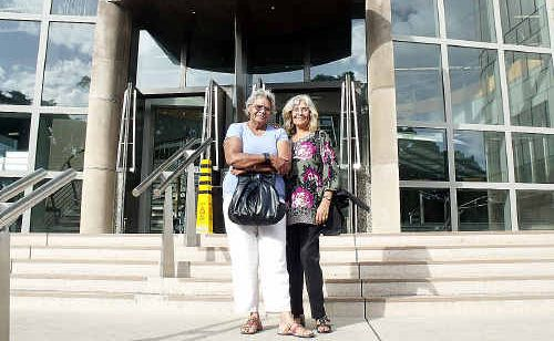 TITLE: Frances Gala, left, and Chrissy Doherty at Brisbane's federal court after filing Ms Gala's claim over the Native Title applications for Fraser Island and Hervey Bay region.