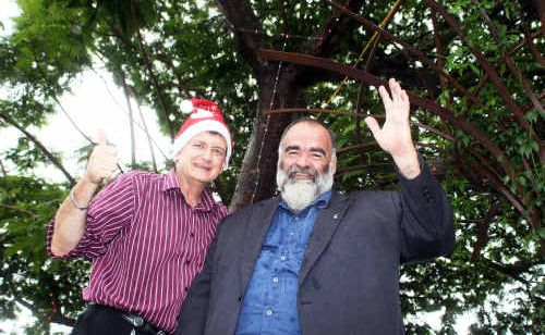 Councillor Paul Tatton and Mayor Bob Abbot launch the Christmas light display in Nambour town square.