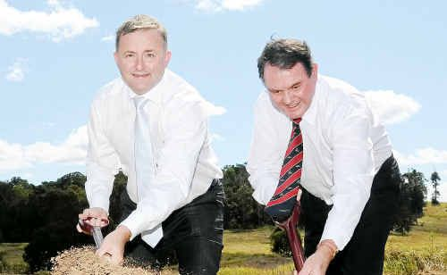 Minister Anthony Albanese and Gympie ambulance officer Wayne Sachs turned the first sod on the new highway.
