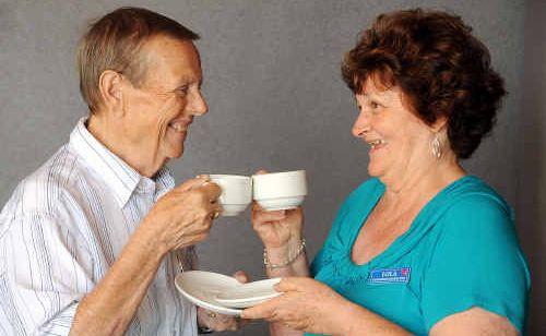 Roy Weatherley and Lola Holland celebrate being happy volunteers.