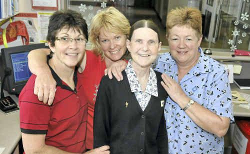 Celebrating a fruitful career is retiree Helen Matthews (third from left) with Westhaven staff members (from left) Julie Keating, Jo Brunner and Lyn Frandsen.