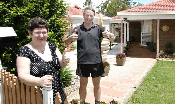 Wilsonton homeowners Tamara and Brett Briese express their relief at the decision to keep the official interest rate at 4.75 per cent.