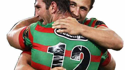 BROTHERS IN ARMS: Dave Taylor and Sam Burgess are the faces of South Sydney's season campaign. cont