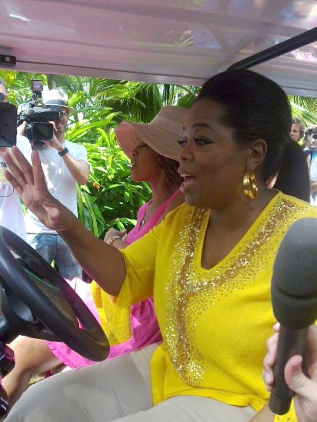 US talk show queen Oprah Winfrey on Hamilton Island yesterday.