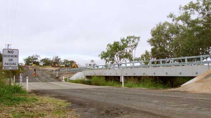 Residents await the opening of the new Evanslea bridge in Jondaryan on Evanslea-Jondaryan Road.