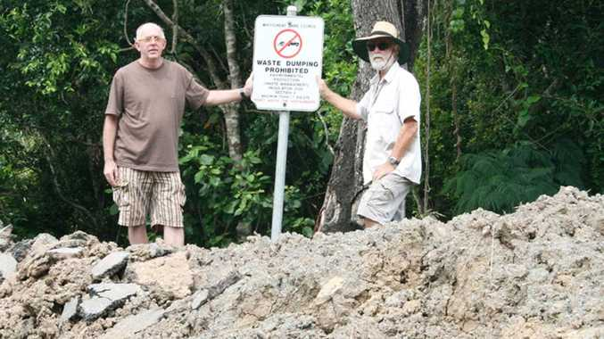 Mandalay Road residents Ross Plowman and Peter Jennings are concerned this site on their road is being used as a depot or dumping ground and is harming the environment.