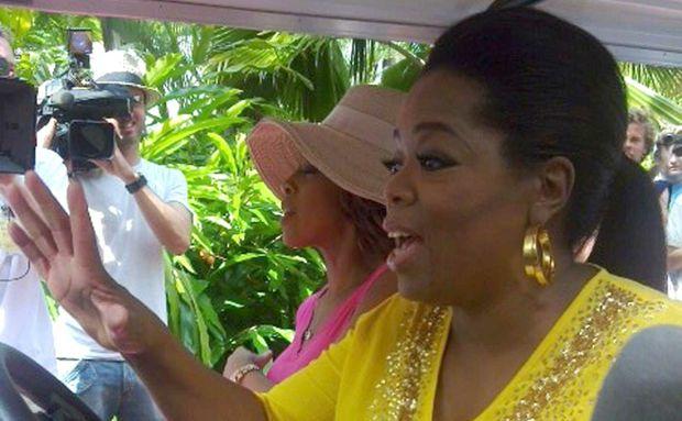US talk show queen Oprah Winfrey on Hamilton Island yesterday afternoon.