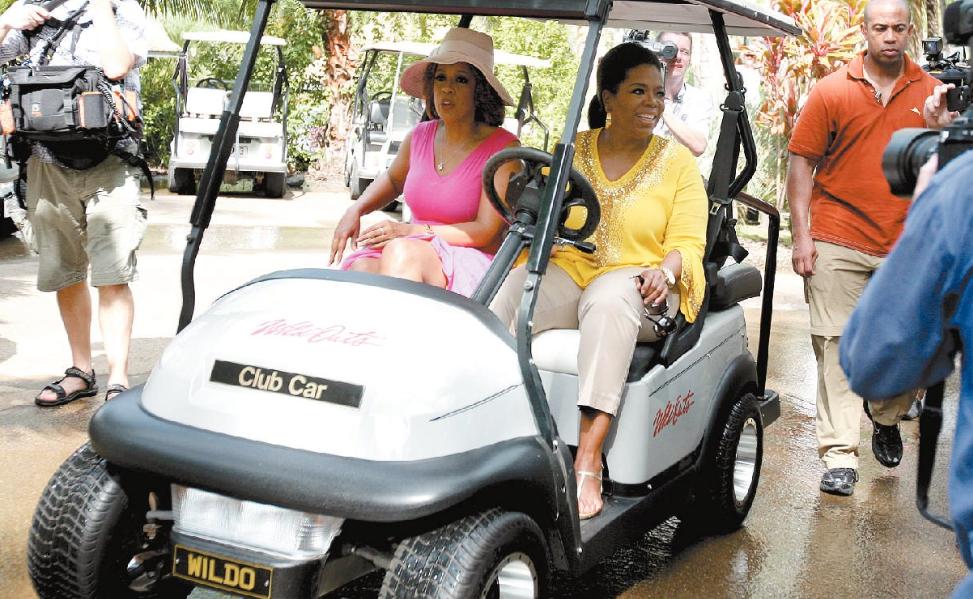 Gayle King and Oprah Winfrey ride into the Wildlife Sanctuary on Hamilton Island as Oprah touches down in Australia.