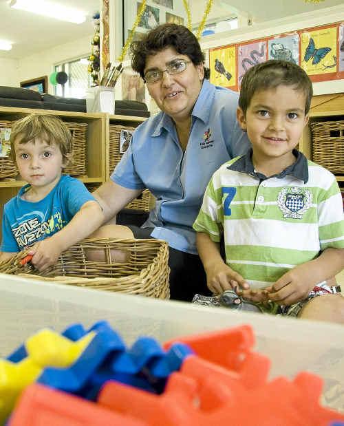 Celebrating the official opening of Kulila Indigenous Kindergarten are (from left) Izaiah Combo, Cheryl Lammond and Joseph Combo.