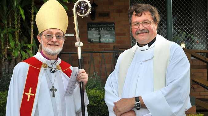 The Reverend Ian Mabey (right) with Bishop Keith Slater.