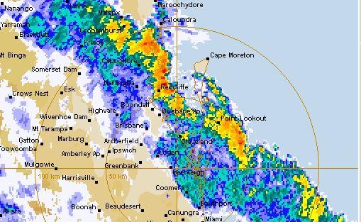 The BOM radar shows a massive band of rain across the south-east.