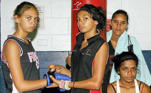 Faith Shepherd, Annastacia Freeman, Koddie Kemp and Astrid Williams hard at work in the gym.