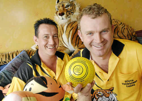 Steven Tong (left) and Jason Grundon of South Toowoomba Tigers prepare for the new season of premier league bowls.