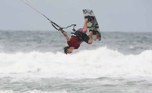 Bokarina kiteboarder Andy Yates gets some practise in at his local beach.