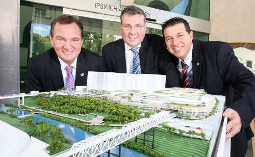 Ipswich Mayor Paul Pisasale, Leighton executive director Andrew Borger and Cr Andrew Antoniolli check out the model of the master plan for the Ipswich City Heart at the Ipswich Art Gallery on Wednesday.