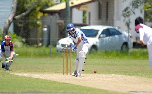 Mackay Whitsunday batsman Ahmeet Raniga faces a delivery from Brisbane North's bowler Jayesh Narian as wicket keeper Reece Andrews looks on.