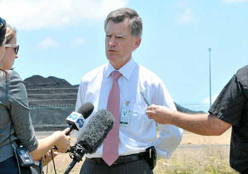 Education and Training Minister Geoff Wilson on Wednesday morning at the RG Tanna Coal Terminal.