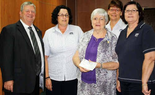 Mayor Col Meng, Fran Fordham, Tracey Evans and Fiona Chambers were excited to present the donation to Yvonne Nurnberger from Make-a-Wish Foundation.