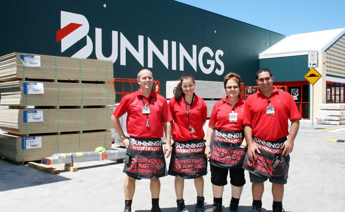 Bunnings staff Darrin Willey, Lesleigh Chase, Wilva Coates and complex manager Nick Hare are looking forward to the warehouse opening in late January.