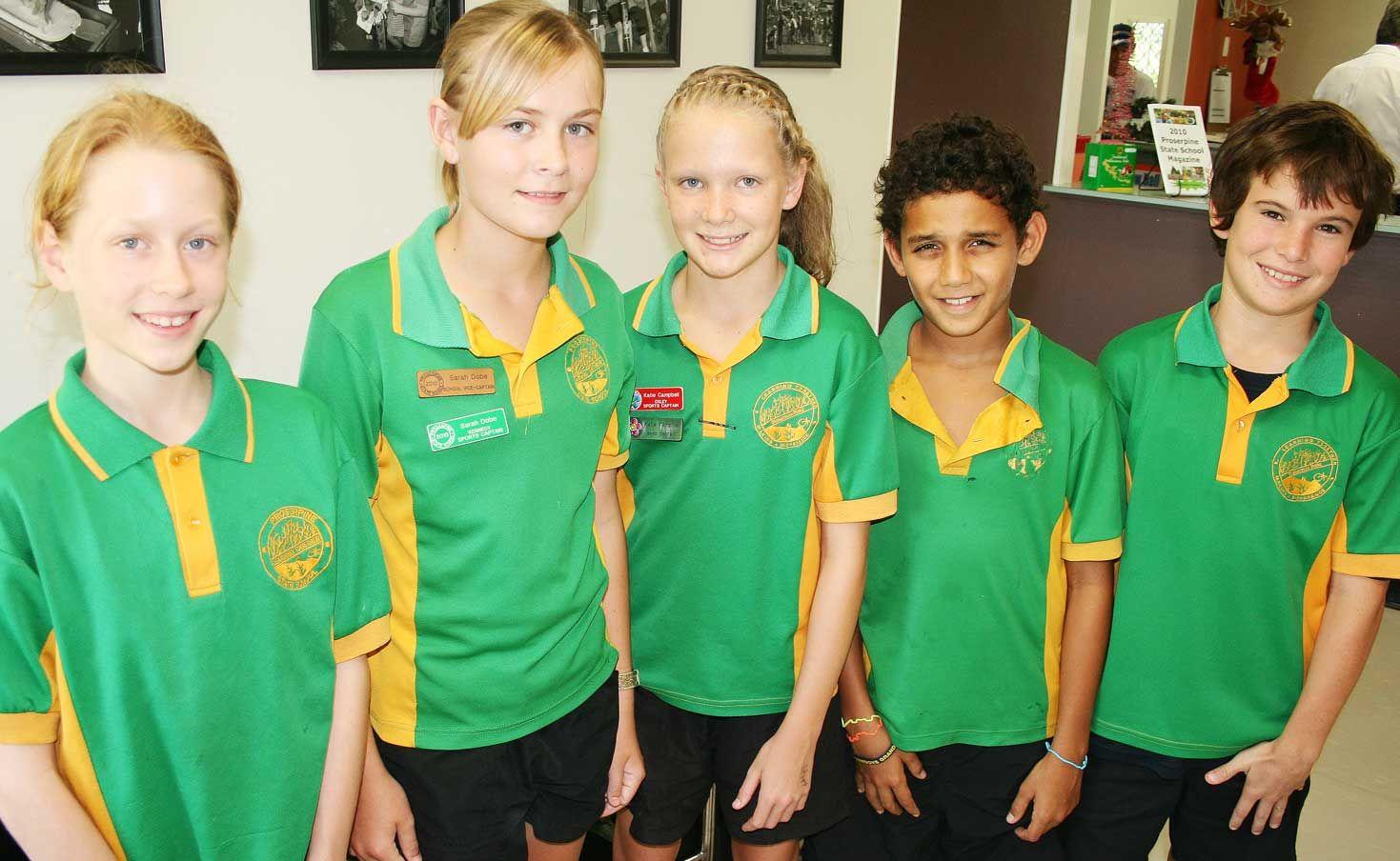 North Queensland representatives for 2010 from Proserpine State Primary School. Heidi Moore, Sarah Dobe, Katie Campbell, Taylor Jones and Adam Skaife.