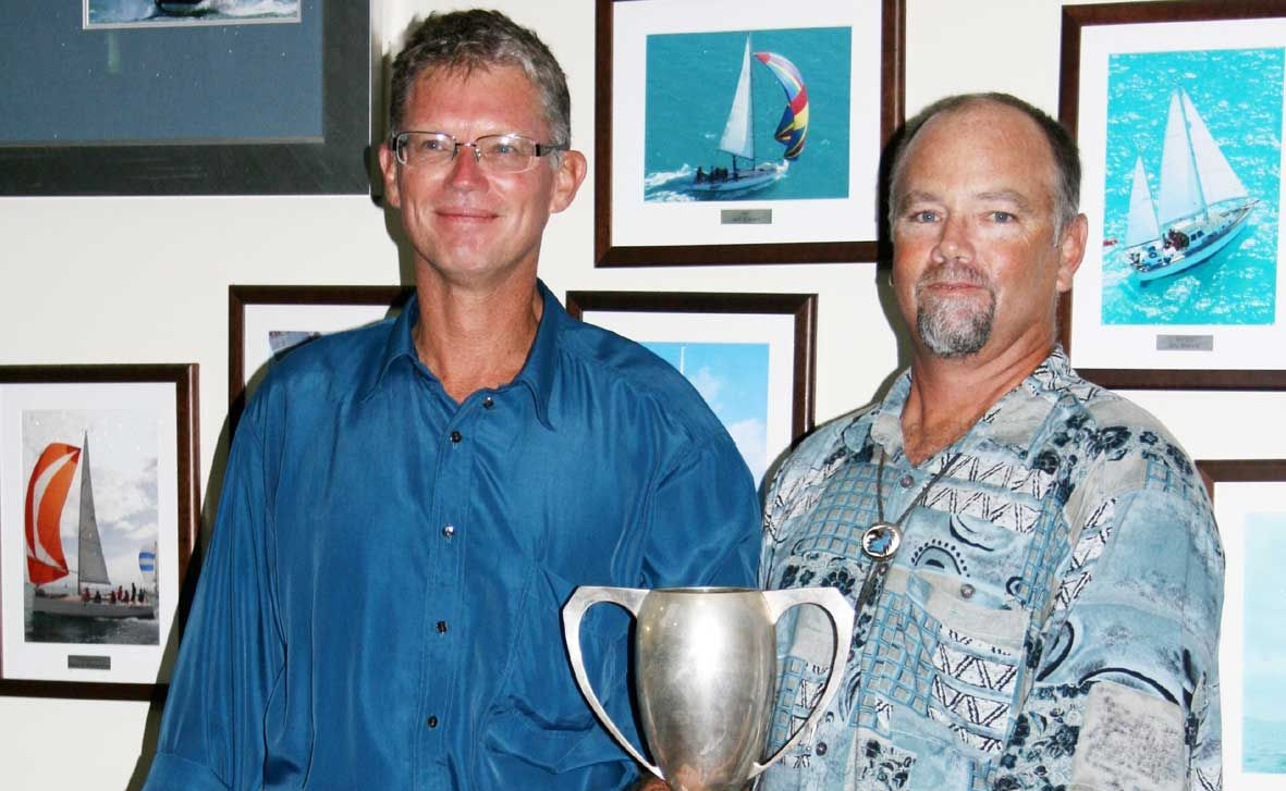 Yachtperson of the year Colin Pruden and sailor of the year Tui Hergatt at the Commodore's ball on Saturday night.