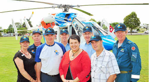 Bundaberg Regional councillors handed over a $50,000 donation to the AGL Action Rescue Helicopter yesterday. On hand were Cr Lynne Forgan, Richard Snell, Cr Lorraine Pyefinch, John Clerke (front) Gary Craig, John Kennedy, Rob Walford and Darrell Searle.