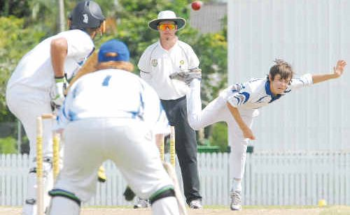 Mackay Whitsunday bowler Darcy Camm sends down a delivery in his side's match against Darling Downs South West Queensland.