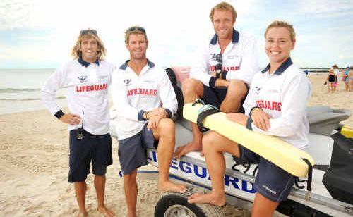 Super-fit council lifeguards Corey Jones, Rhys Drury, Dylan Newbiggin and Allira Richardson.