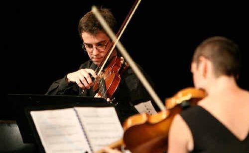 Glenn Christensen and Liz Gormley perform in the Glenn Christensen and Friends concert yesterday.