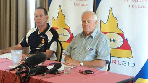 CQ NRL Bid chief executive Denis Keeffe and chairman Geoff Murphy.
