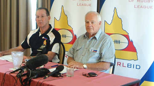 CQ NRL Bid chief executive Denis Keeffe and chairman Geoff Murphy.