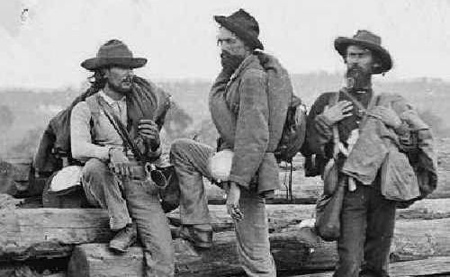 Confederate soldiers pose for the cameras after their capture at the battle of Gettysburg in 1863.