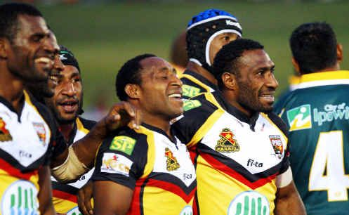 Benjamin John (middle) is one of three Papua New Guinea internationals joining the Ipswich Jets for the 2010 Queensland Cup season.