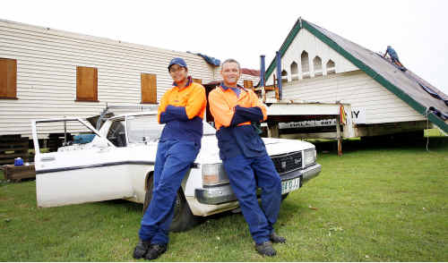 Skilling Queenlanders for Work participants Brett Reeks (left) and Jack Moffatt are looking forward to starting renovations on this historic hall.