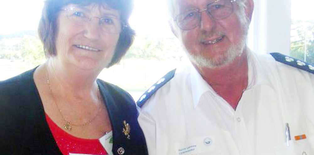 DONATION: President of BACCI Mary Richards and commander of Marine Rescue Ballina Norm Lannoy.