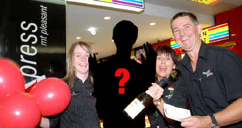 Could this be you? The search is on for Mackay's Saturday Gold Lotto winner who bought a ticket at Mount Pleasant newsXpress. Newsagency staff, from left, Audrey Williams and Michelle Rutland and owner Troy Ross hope to celebrate with the mystery winner who will pick up around $1.35 million.