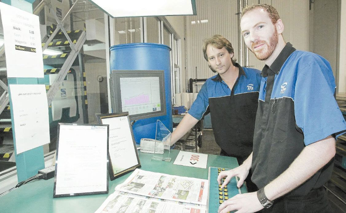 Pro printers: Ricky Lillywhite and Phil Rowland - APN apprentices in printing press - have won two big industry awards.