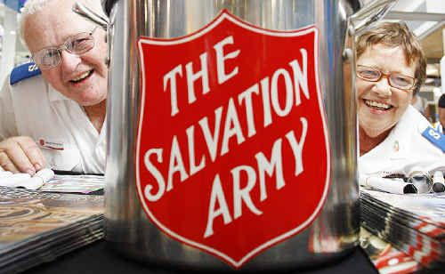 Husband and wife team Neville and Cathie Sinnamon are collecting money for The Salvation Army Christmas Appeal at Riverlink Shopping Centre.