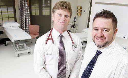 GPs Simon Barnett (left) and Rob Kielty settle into the new UQ Health Care Ipswich clinic.