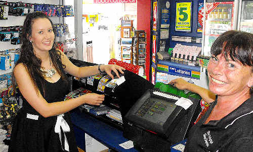 Winning ways: Byron Bay Newsagency employees Nadine Delardes and Lisa Pearson.