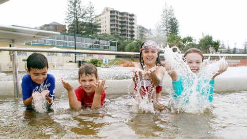 At Kings Beach pool (from left) Zac Morgan, 7, Reece Petkovich, 5, Jasmine Petkovich, 8, and Alyssa Morgan, 10.