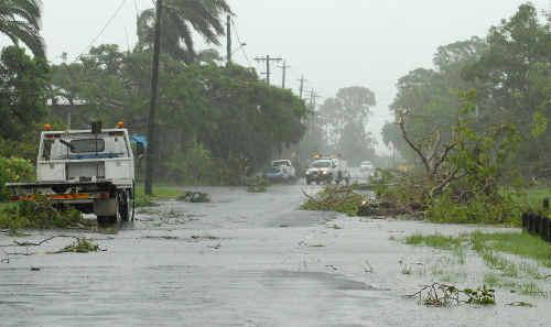 Debris on roads due to mini cyclone in Mackay.