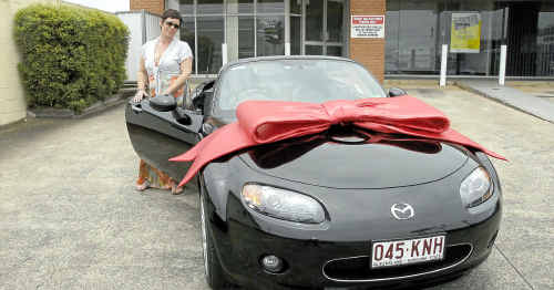 Liz Veal's husband Peter bought her a Mazda MX5 Roadster Coupe as a surprise for Christmas.